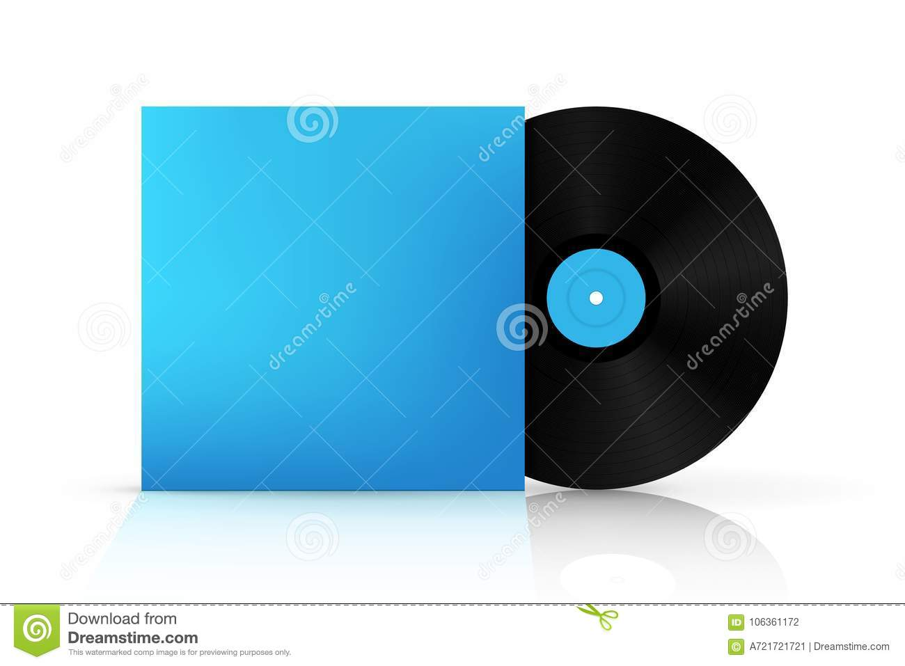 Creative illustration of realistic vinyl record disk in paper case creative illustration of realistic vinyl record disk in paper case box isolated on background front view art design blank lp music cover mockup template maxwellsz