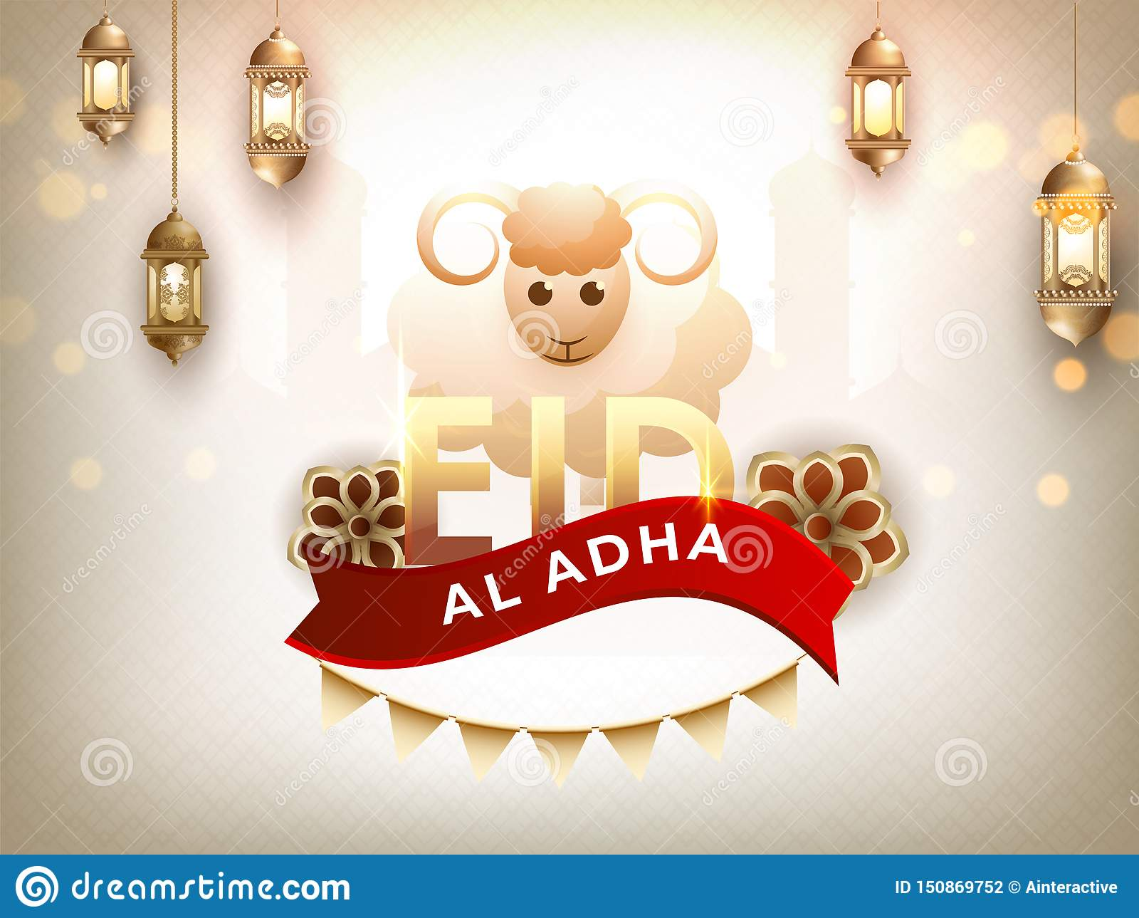 Creative illustration of Sheep with calligraphy text Eid-Al-Adha on Mosque.