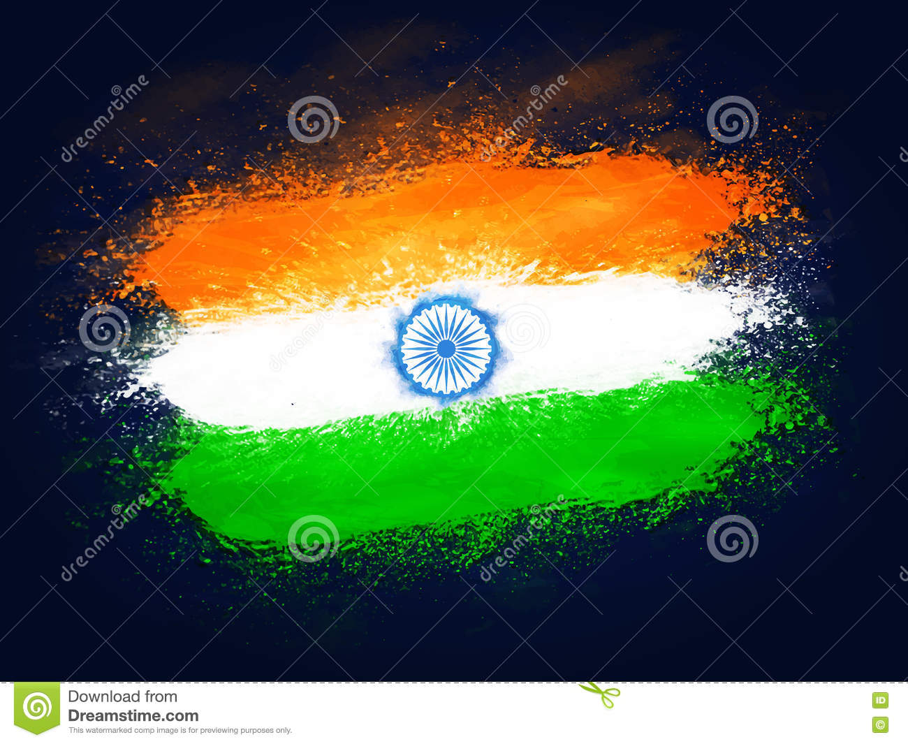 Creative Watercolor Indian Flag Background For Indian: Creative Indian Flag Design For Independence Day. Stock