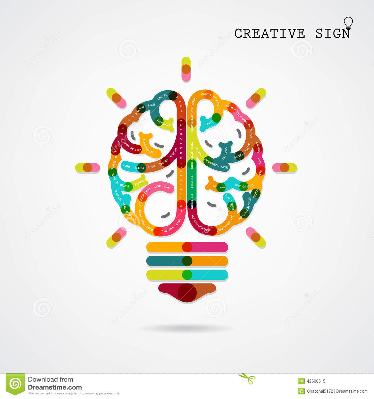 and right brain function ideas on bac stock vector image 42606515