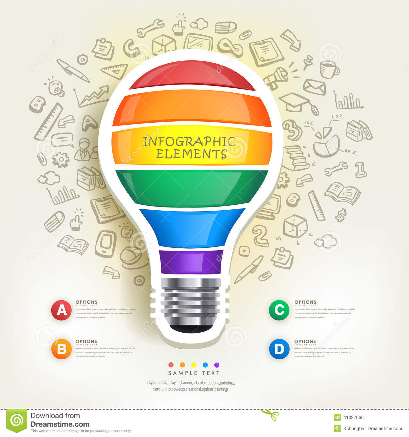 Creative Infographics Template With Bulb Stock Vector