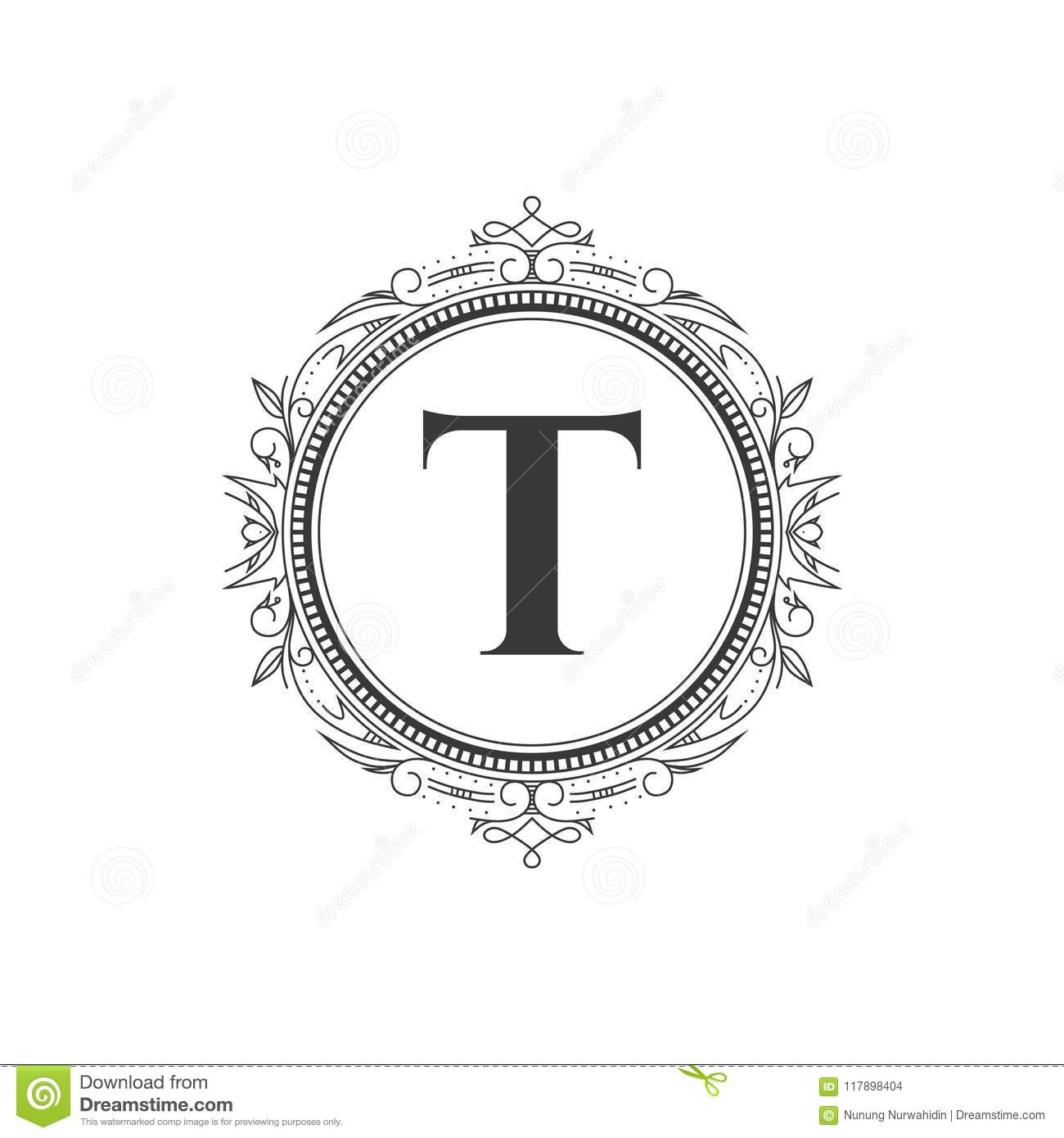 T Initial Monogram Letter Logo Template With Luxury Ornament