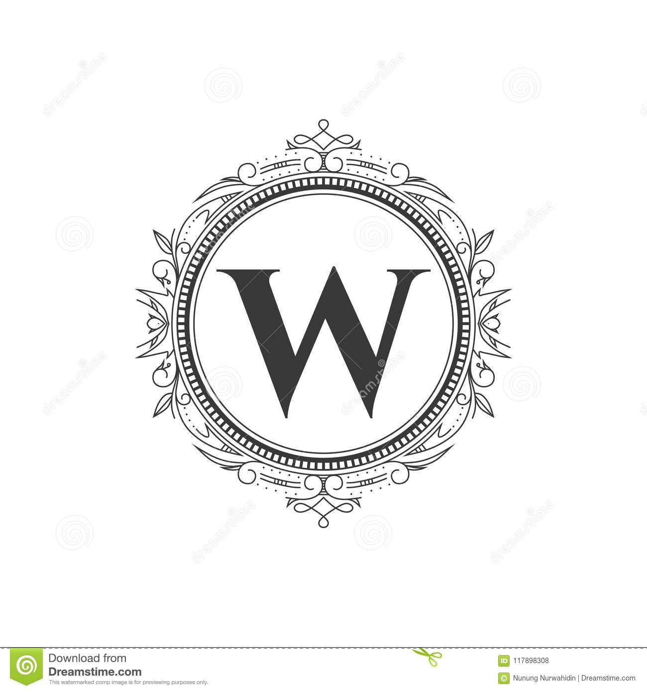 W Initial Monogram Letter Logo Template With Luxury Ornament