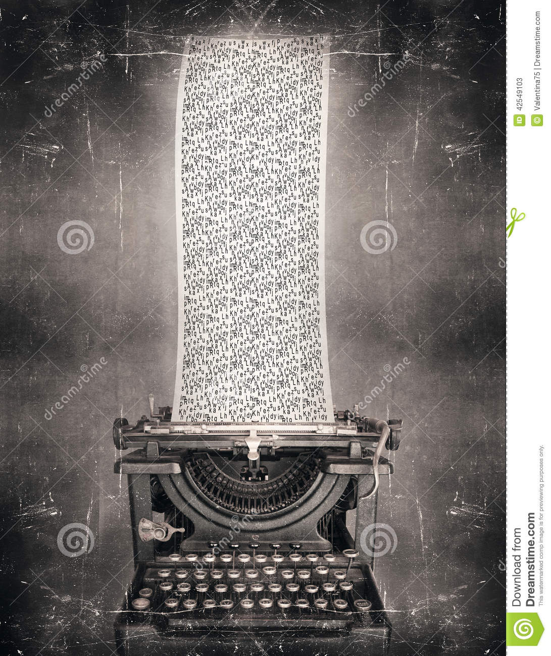 Creative Inspiration Surreal Imagine Black White Beautiful Classic Old Fashioned Typewriter Very Long Paper on creative writing 3