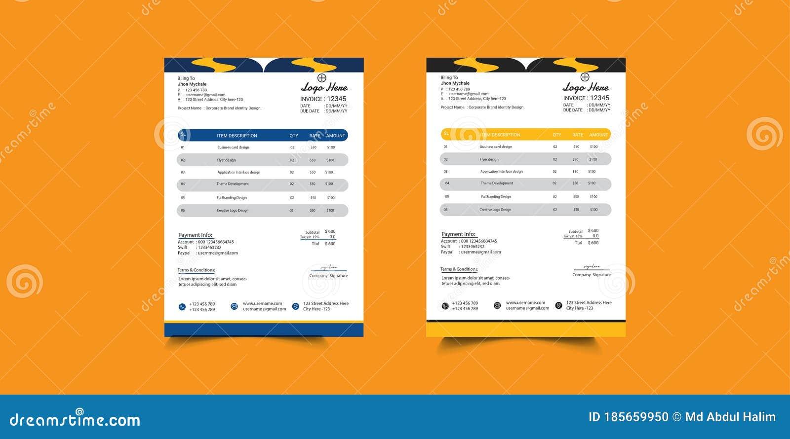 Creative Invoice Template Design Minimalist Invoice Template Design For Your Business Stock Vector Illustration Of Accounting Bill 185659950