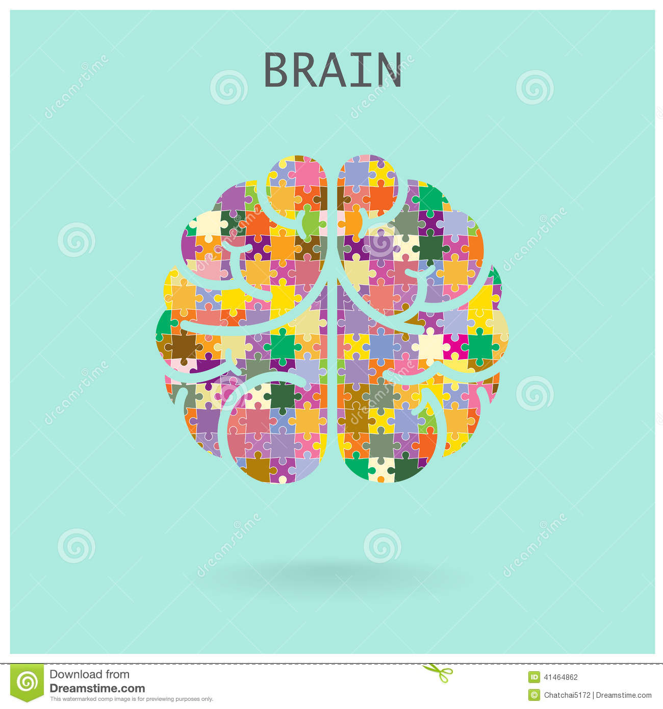 Creative Jigsaw Left And Right Brain On Background ...