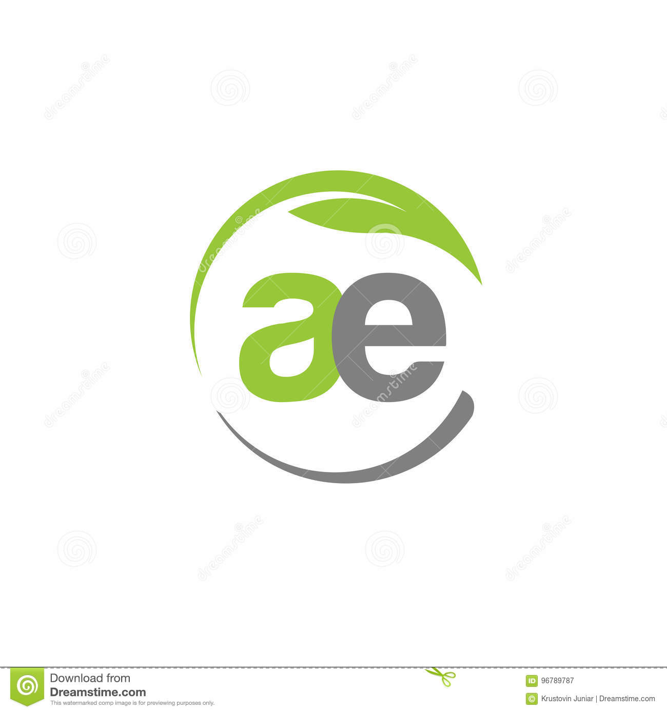 Creative letter AE with circle green leaf logo
