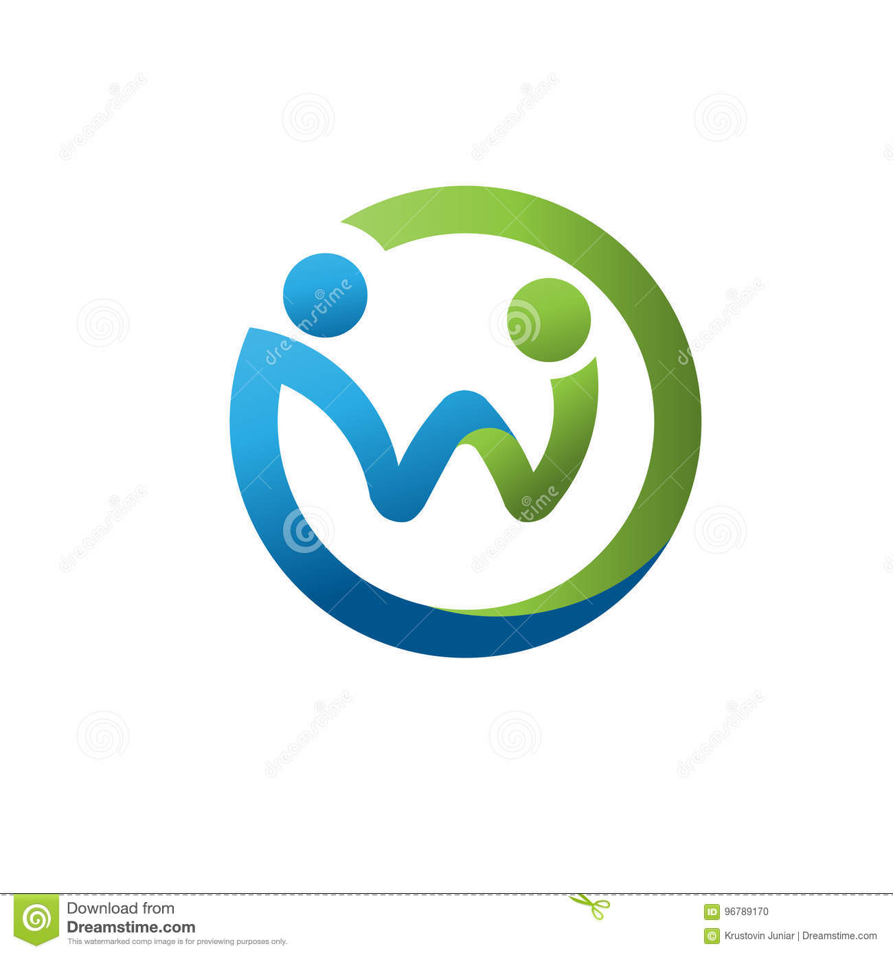 Circle Letter W As Social Care People Figure Logo Stock Vector