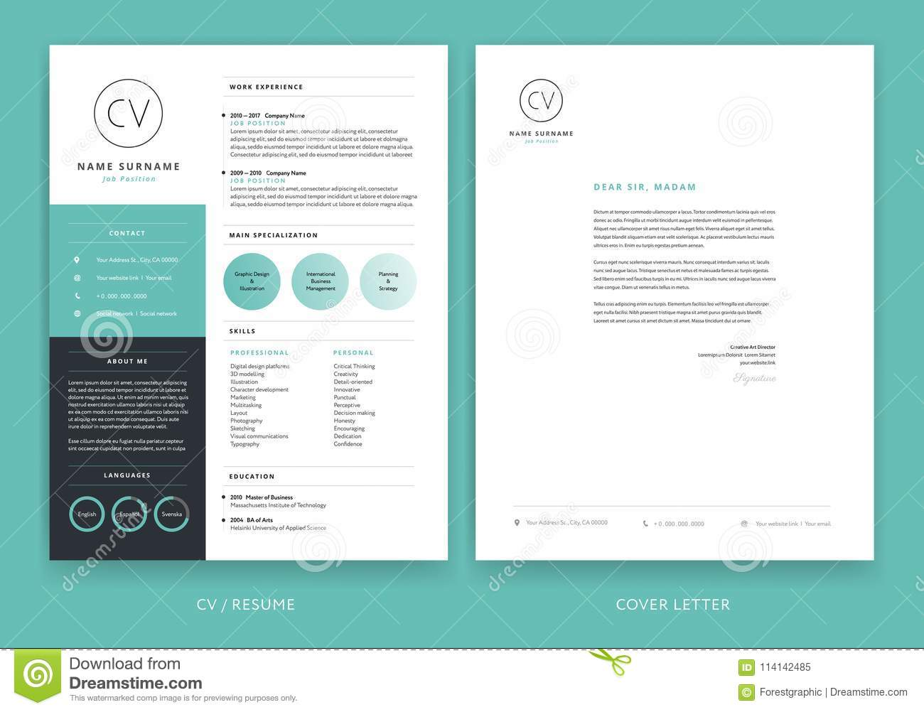 creative letterhead template design yellow cover letter vector