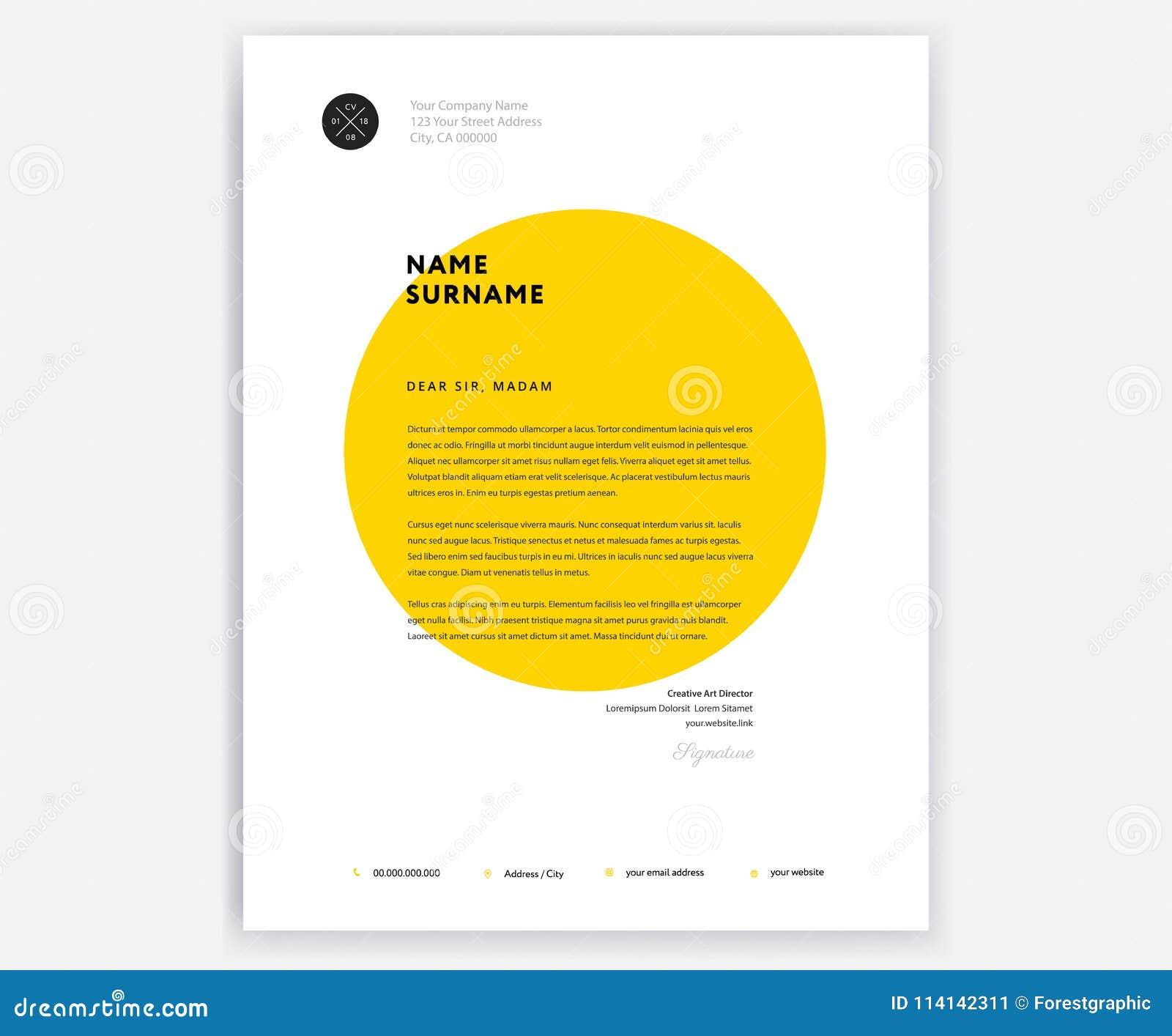 Creative Letterhead Template Design - Yellow Cover Letter ...