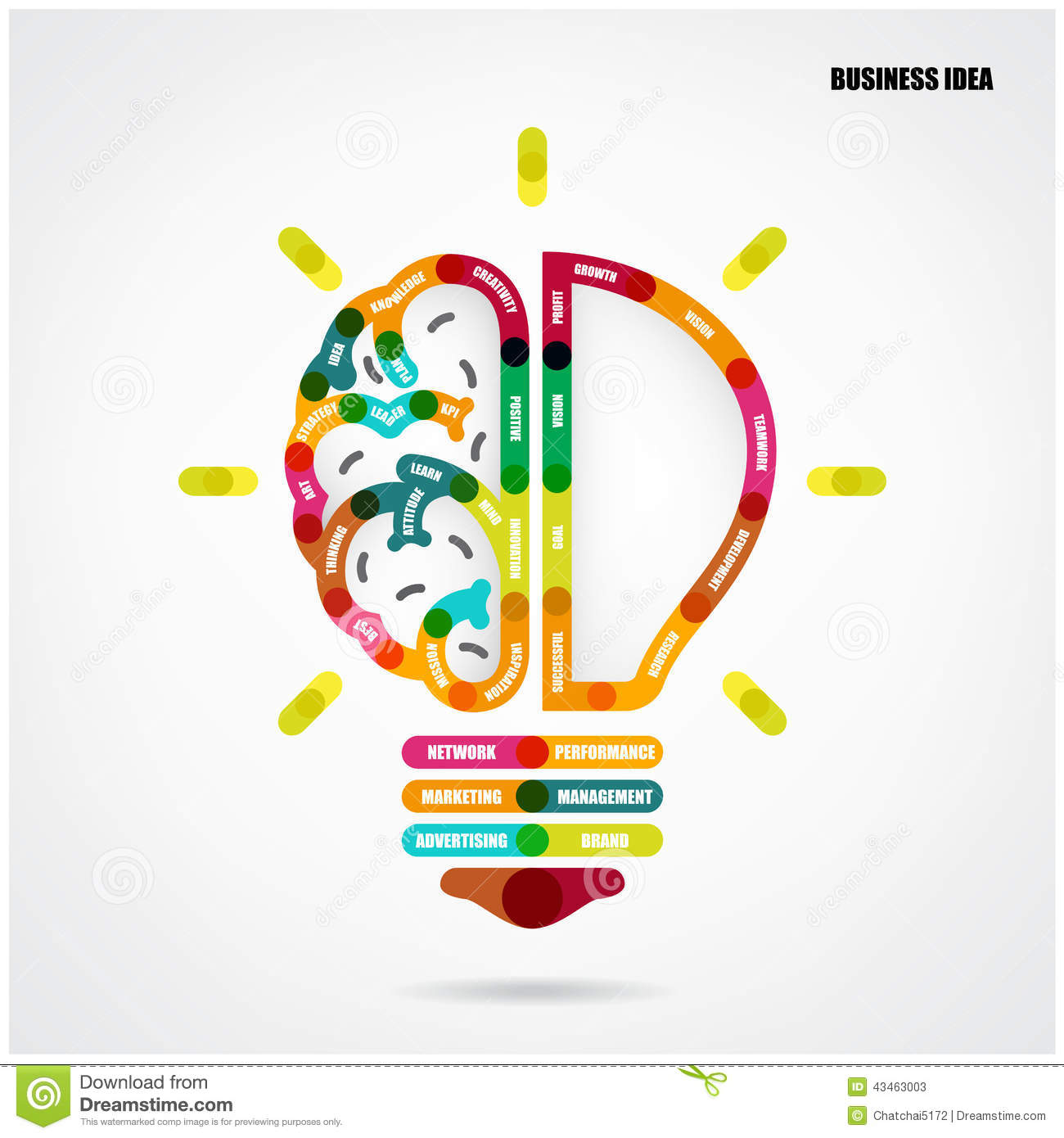 Creative Light Bulb Concept With Business Idea Background Stock Vector ...