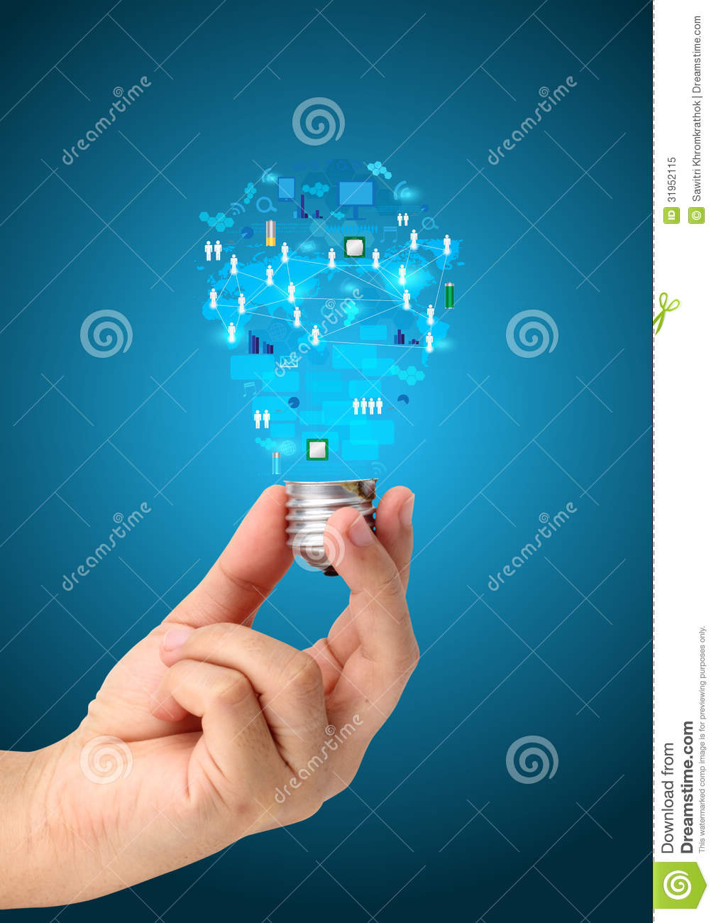 Creative Light Bulb In Hand With Technology Business Network Stock ...