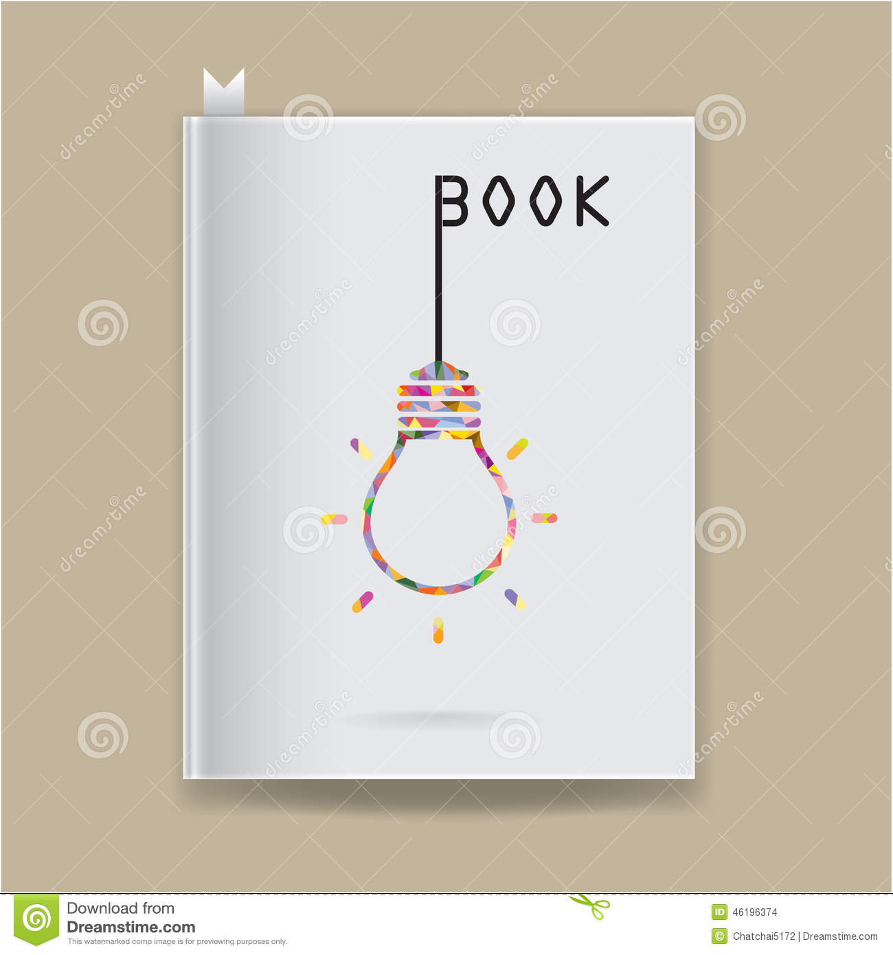Book Cover Illustration Fee ~ Creative light bulb idea concept on blank book cover stock