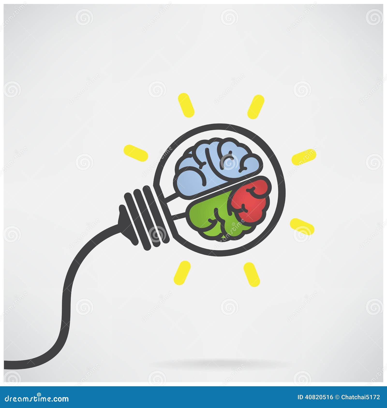 creative light bulb idea concept brain sign stock vector image