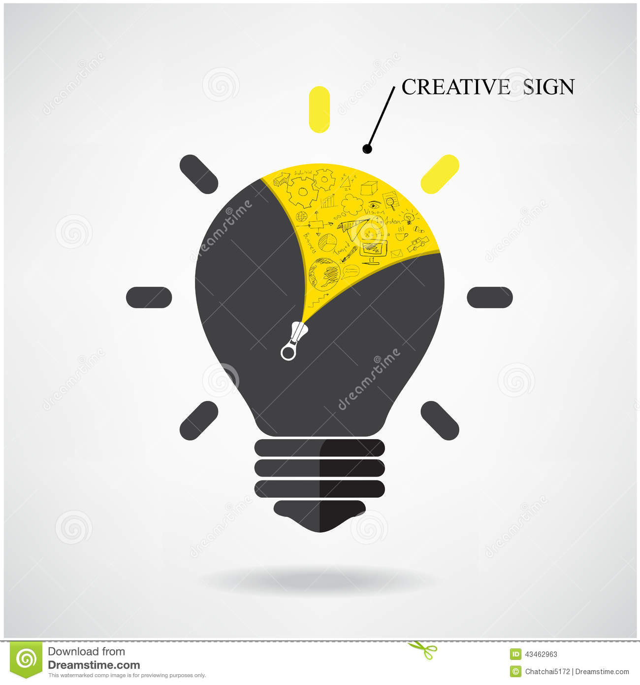 creative light bulb idea concept with doodle hand drawn sign can be used for workflow layout banner diagram web design poster flyer cover