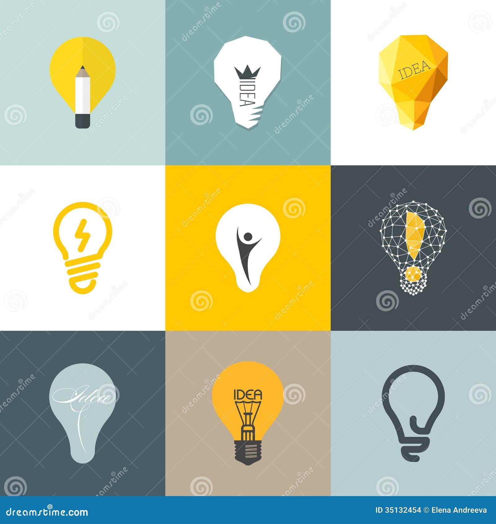 Creative Light Bulb Set Of Design Elements Stock Vector
