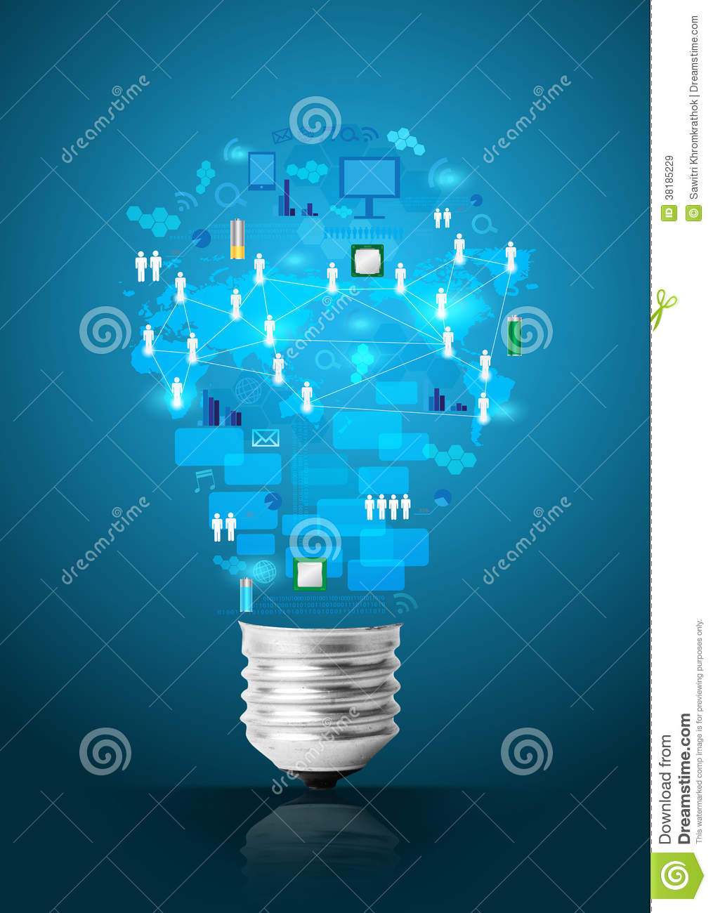 Creative Light Bulb With Technology Business Network Stock Incandescent Circuit Diagram Free Download Wiring Preview