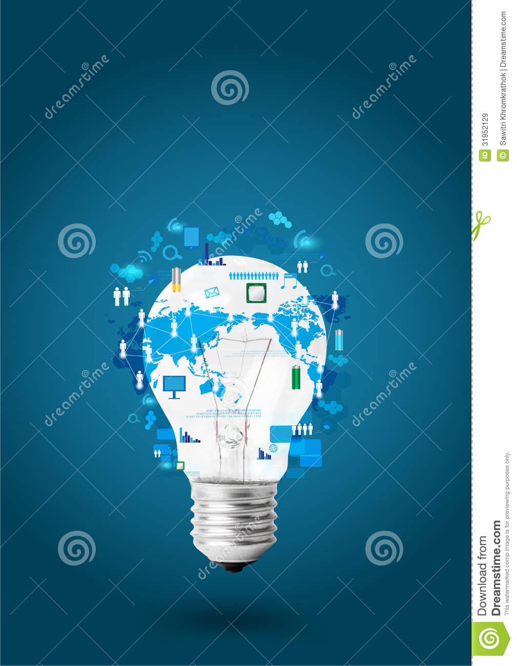 Creative Light Bulb With Technology Business Network Stock