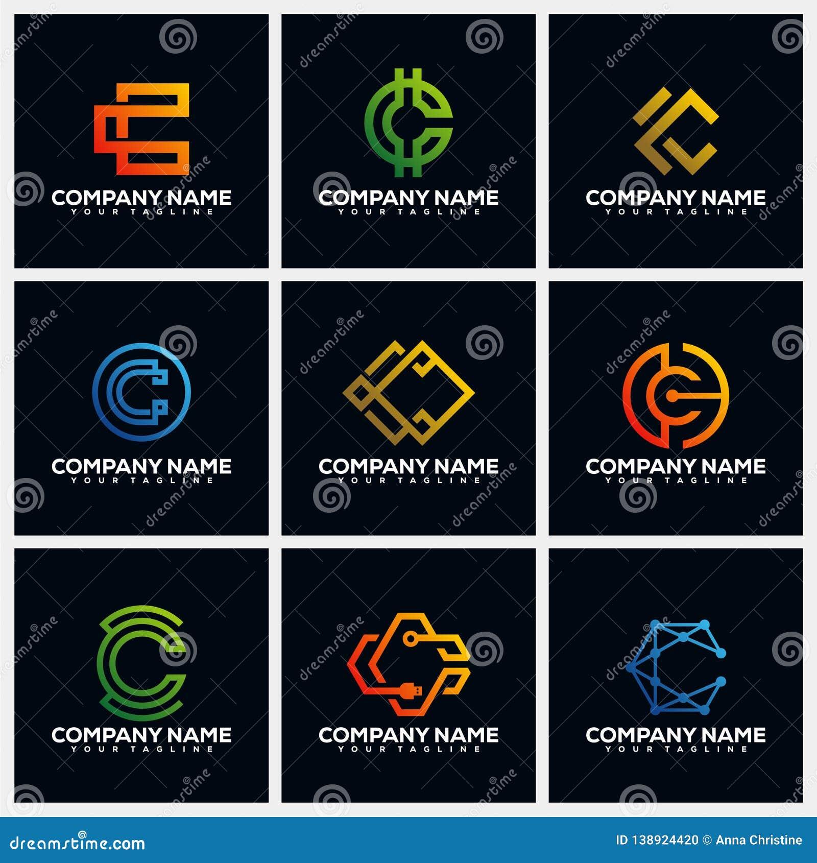 Letter C Pack Creative Logo Design Concept Vector Template