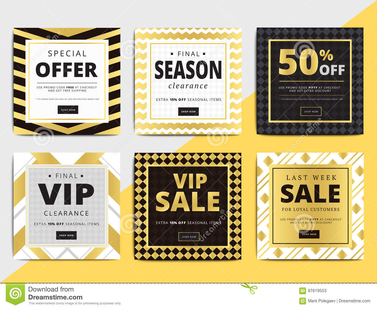 Creative luxury square social media web banners for cell for Online retailer for sale
