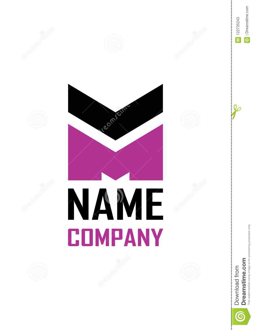 M Logo. M Letter Design Vector With Pink Color. Stock Vector ...