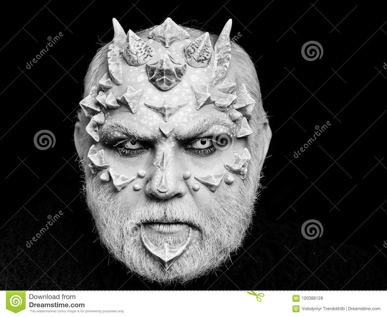 Scary Halloween Makeup For Guys With Beards.Creative Make Up Horror And Fantasy Concept Stock Photo