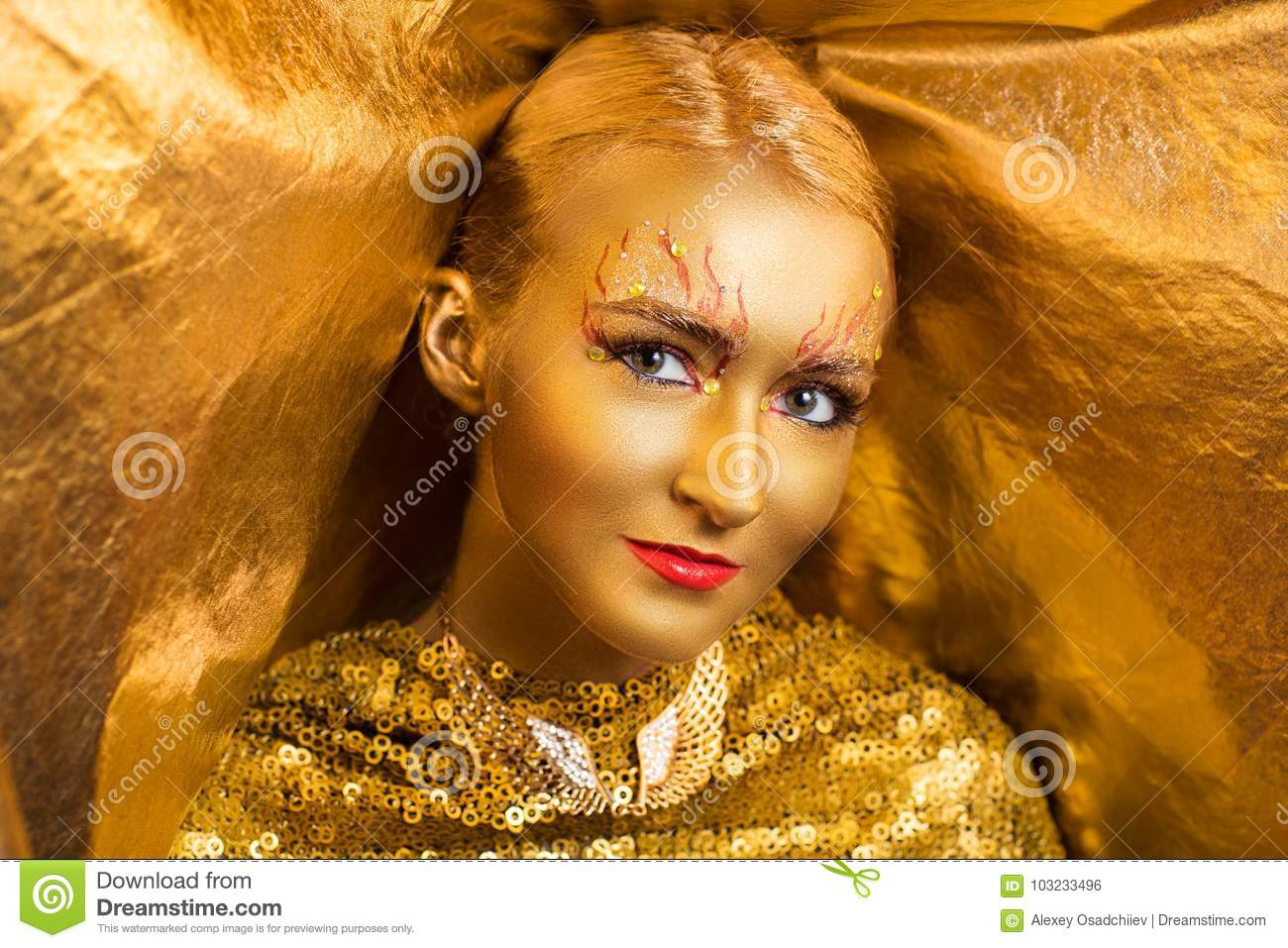 Golden make up stock photo  Image of looking, making - 103233496