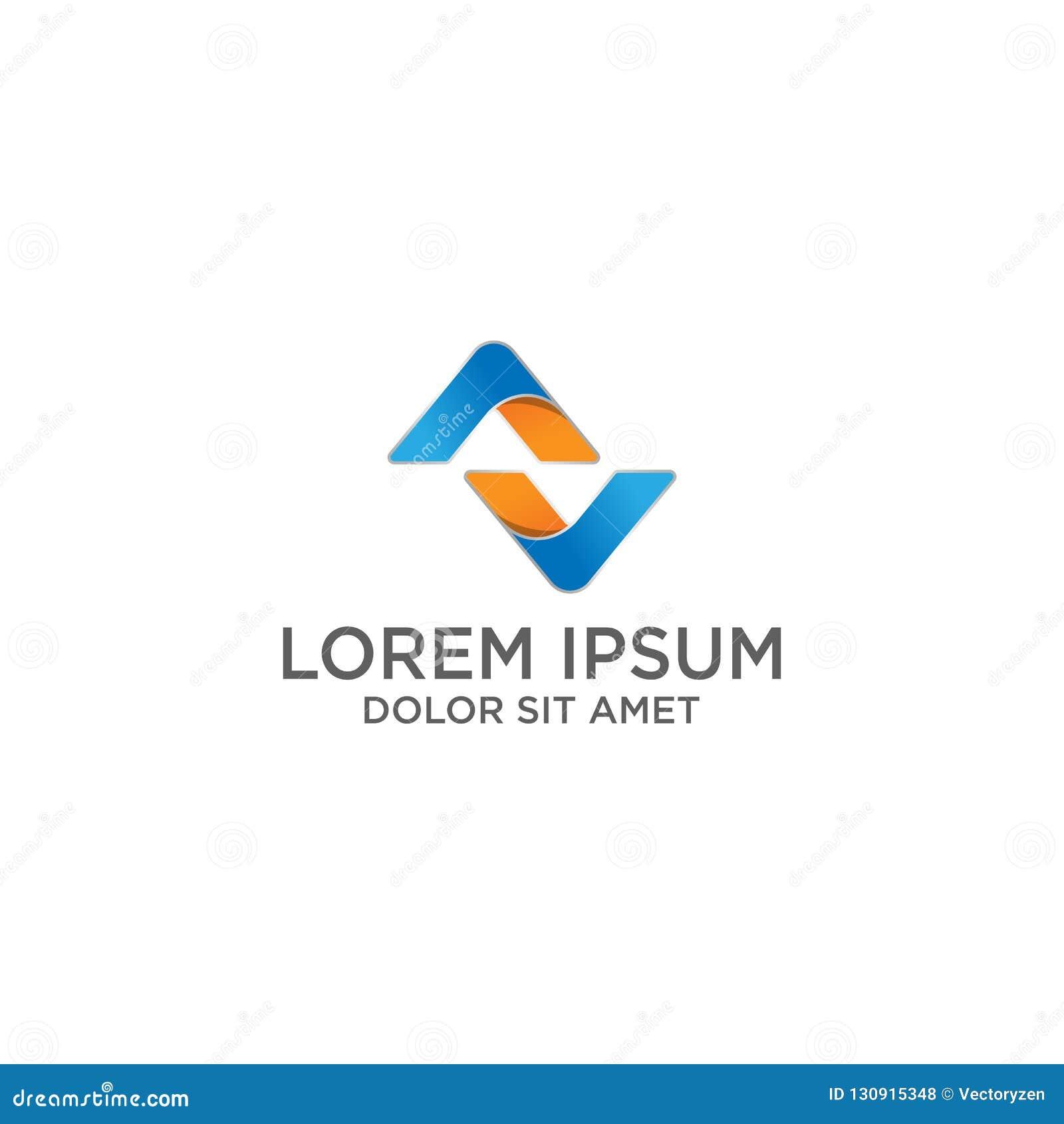 creative minimal AV logo icon design in vector illustrator format with abstract design template
