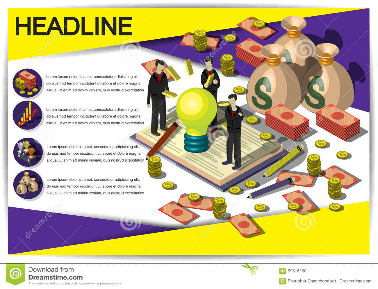 creative money template flyer brochure vector paper design template stock vector image 59616160. Black Bedroom Furniture Sets. Home Design Ideas