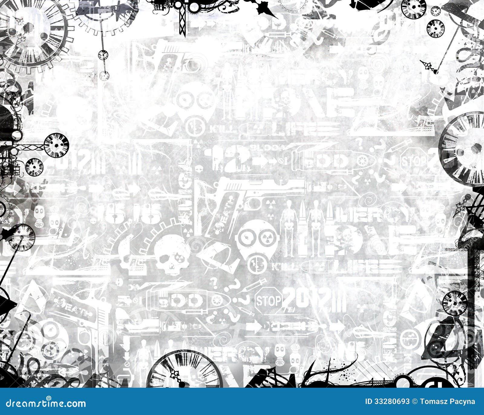 Creative monochrome clocks industrial frame white background