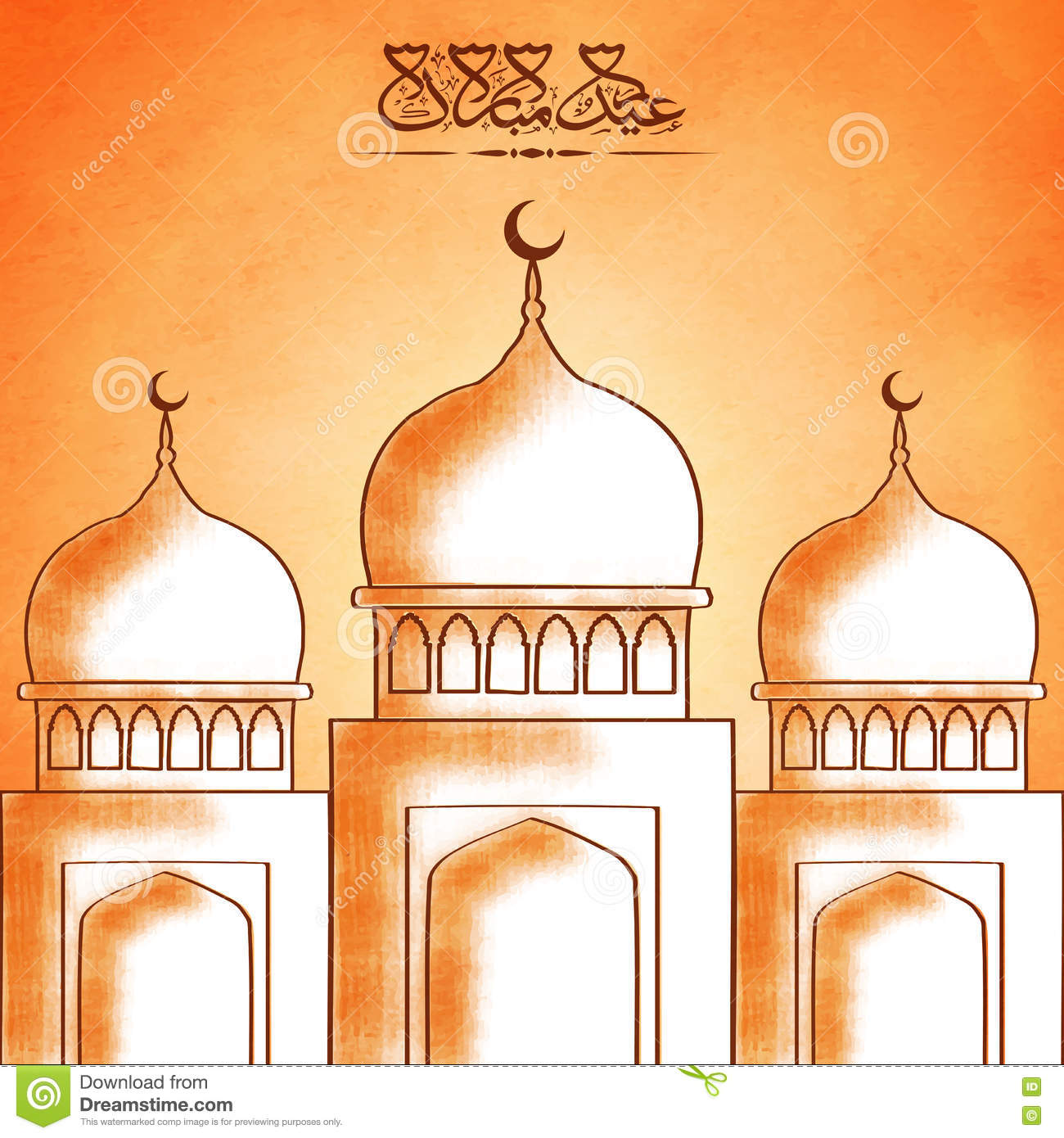 Islamic Calligraphy of text Eid Mubarak on orange background, Greeting ...