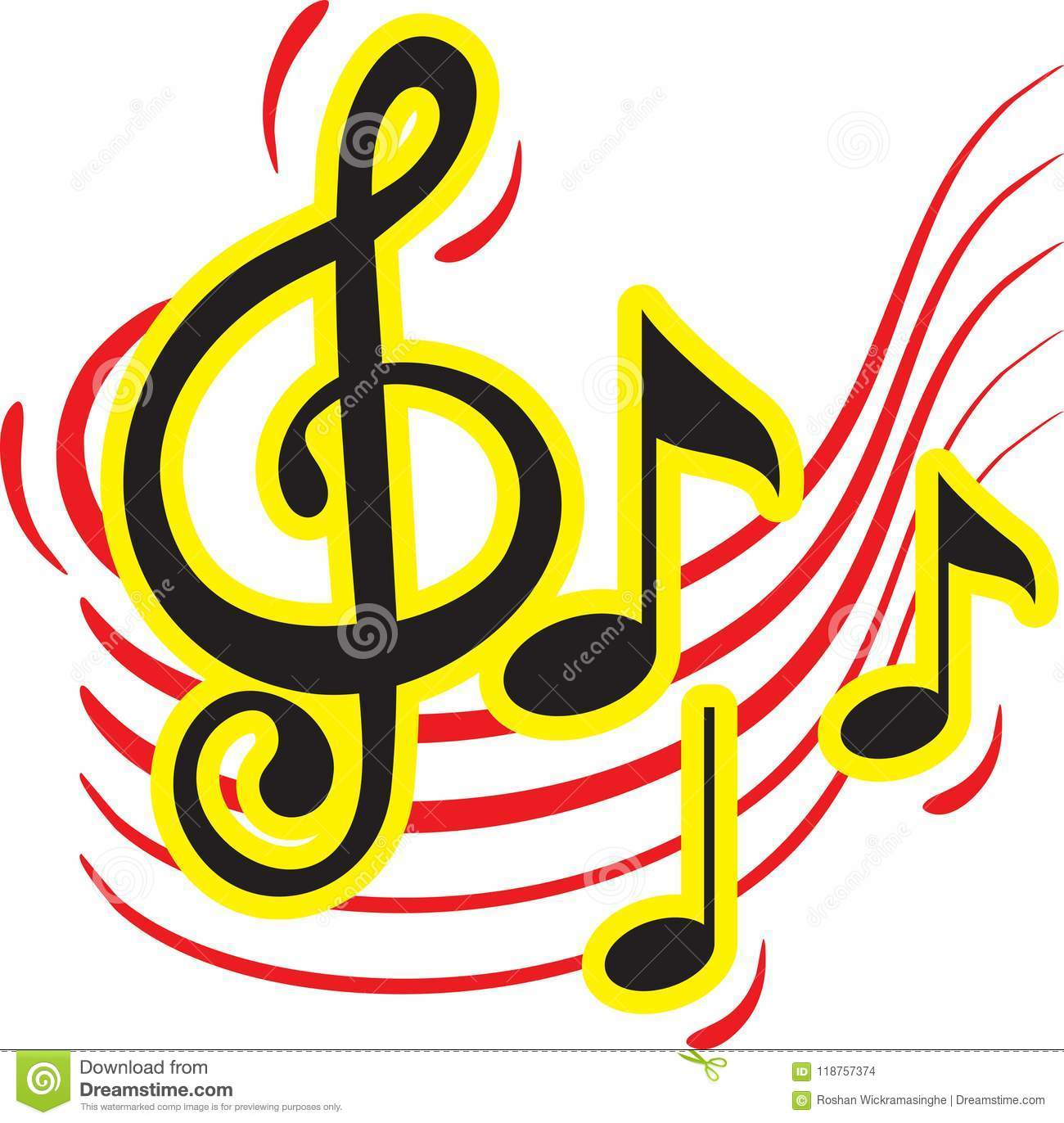 Colorful Music Sign Design Stock Vector Illustration Of Music
