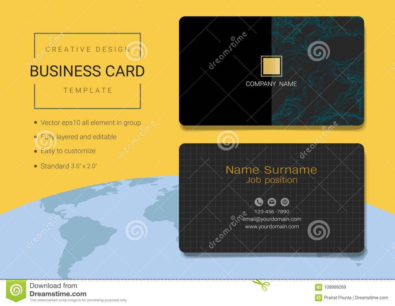 Creative Name Card Or Business Card Design Template. Stock Vector