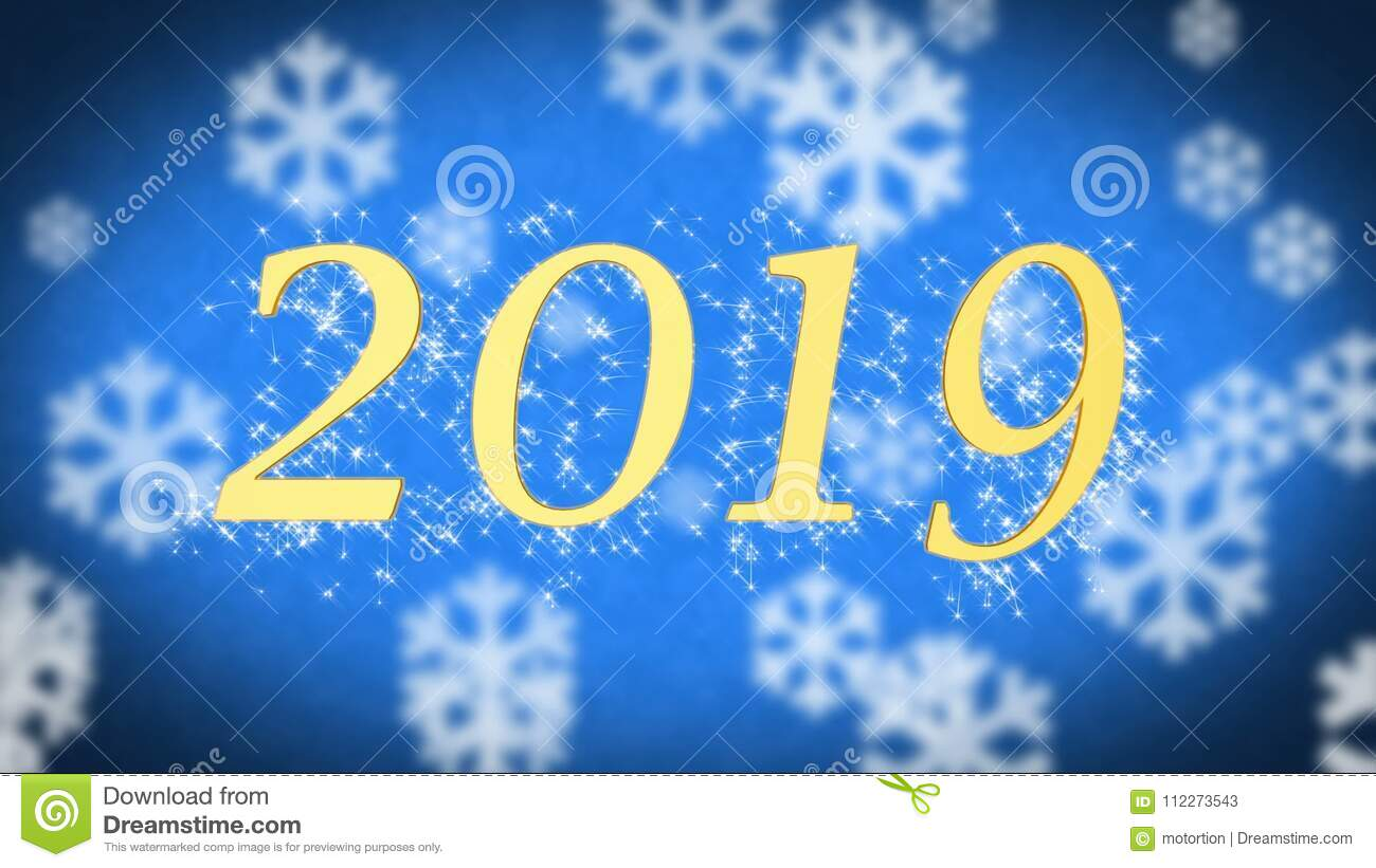 2019 Creative New Year Celebration Message On Blue Snowy Background ...