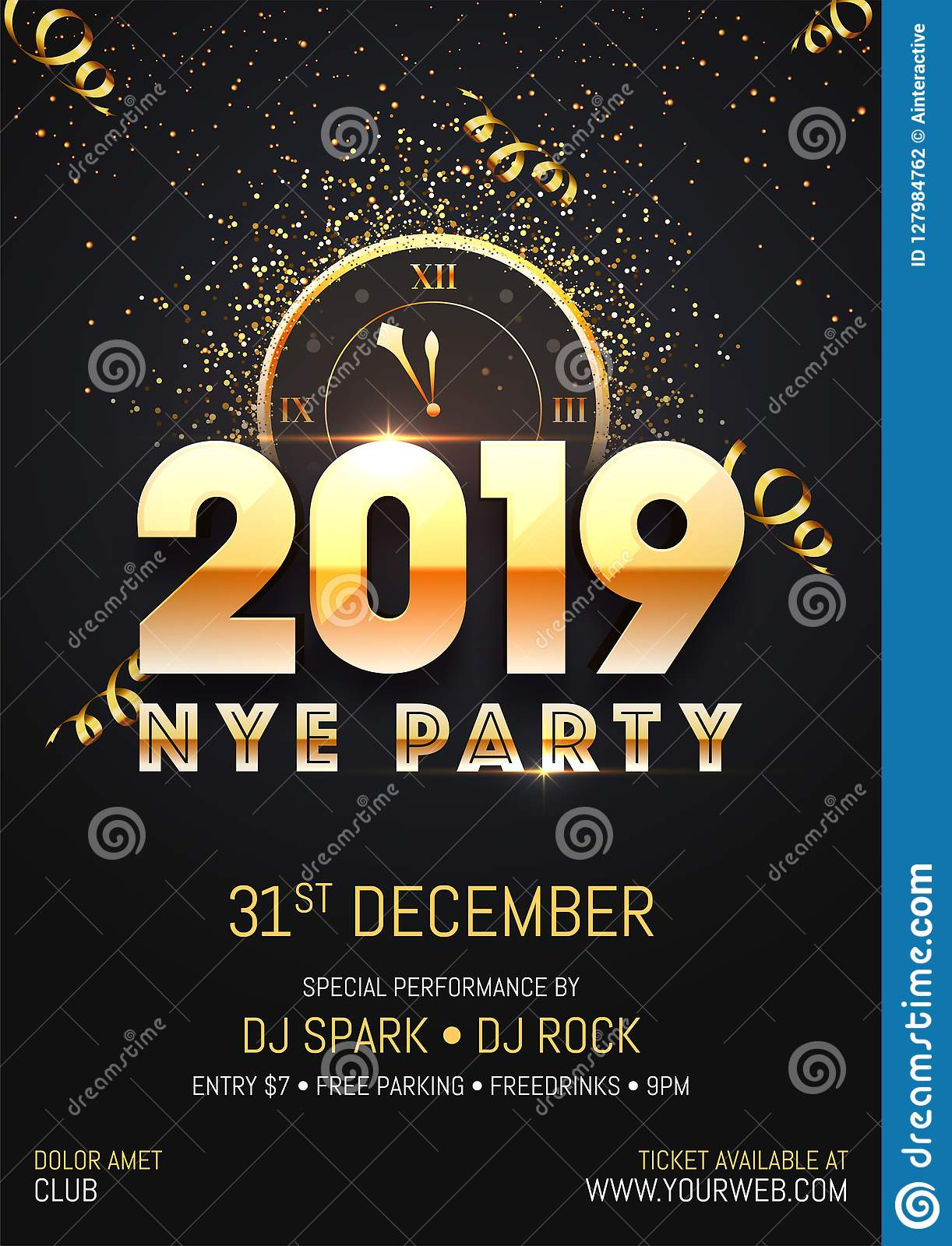 creative 2019 nye new year eve party template or flyer design