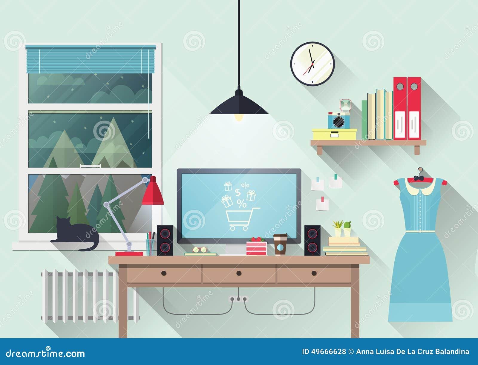 Creative Office Workspace Vector Illustration