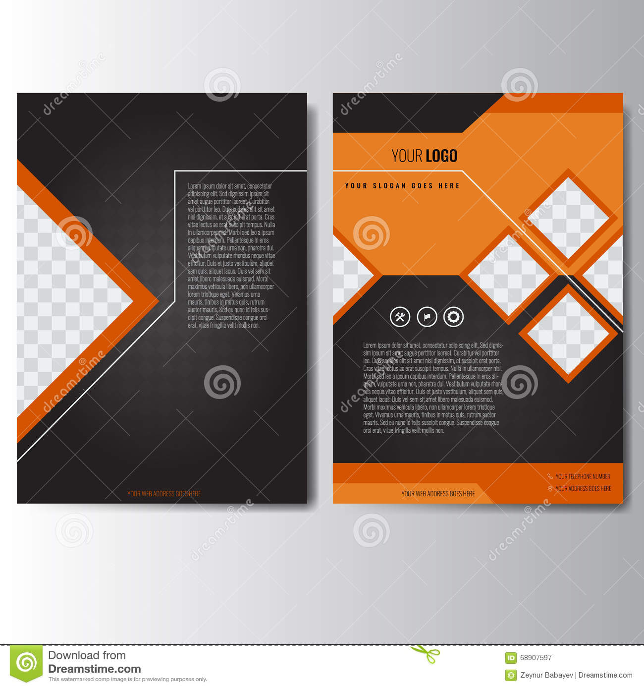 Black Book Cover Design ~ Creative orange annual report leaflet brochure flyer