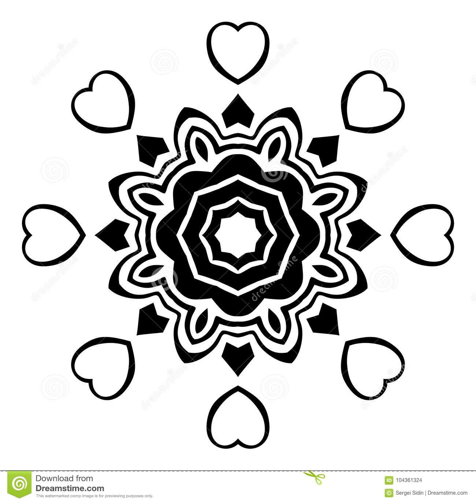 Creative Ornament Design Black And White Mandala Hand Drawn