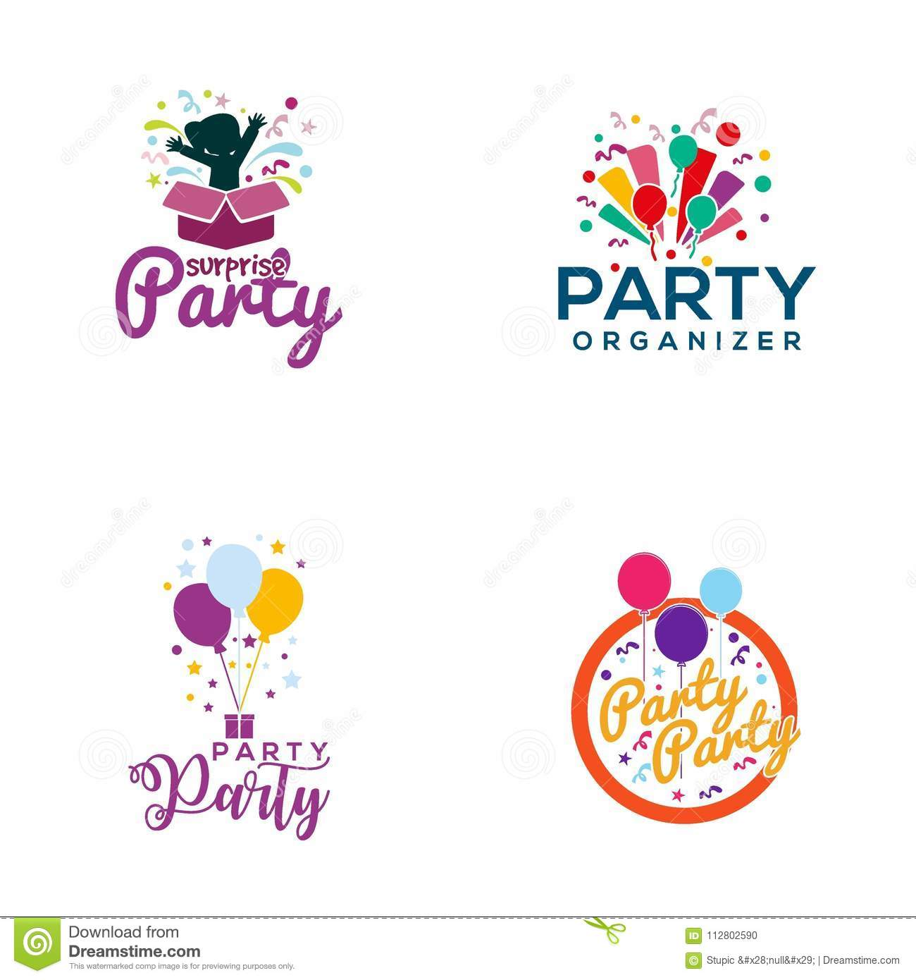 creative party logo design vector art logo stock illustration illustration of celebration logo 112802590 https www dreamstime com creative party logo design various used purposed just you great people creative party logo design vector art logo image112802590