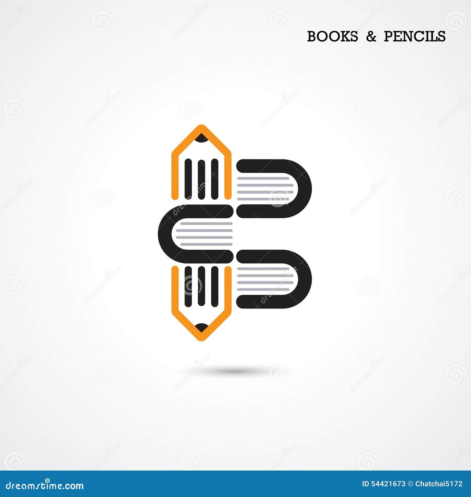 Creative Book Logo Design : Creative pencil and book icon abstract logo design vector