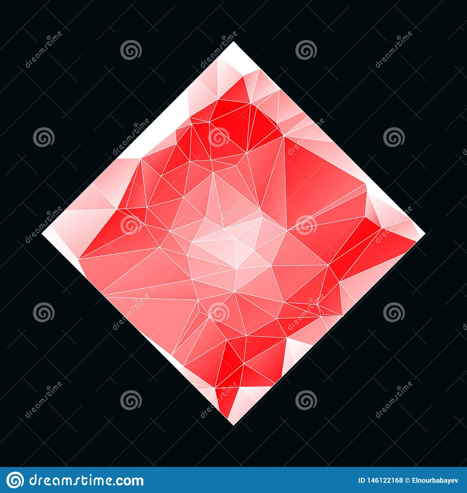 Creative Poligonal Triangle White Red Background with copyspace on it. Low Poly Design. Light Copy Space Color Pattern