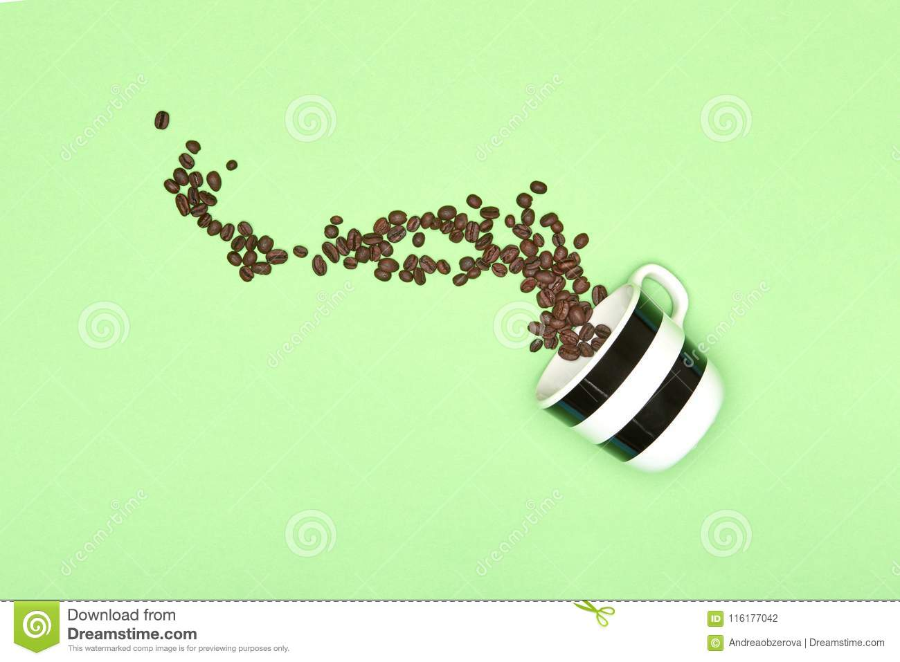 Creative pop art cup of coffee pastel coloured background. Coffee mug and roasted coffee beans.