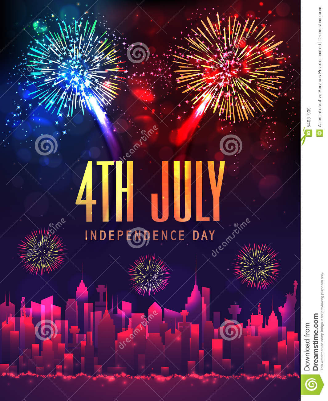 Creative Poster Or Banner For American Independence Day. Stock ...