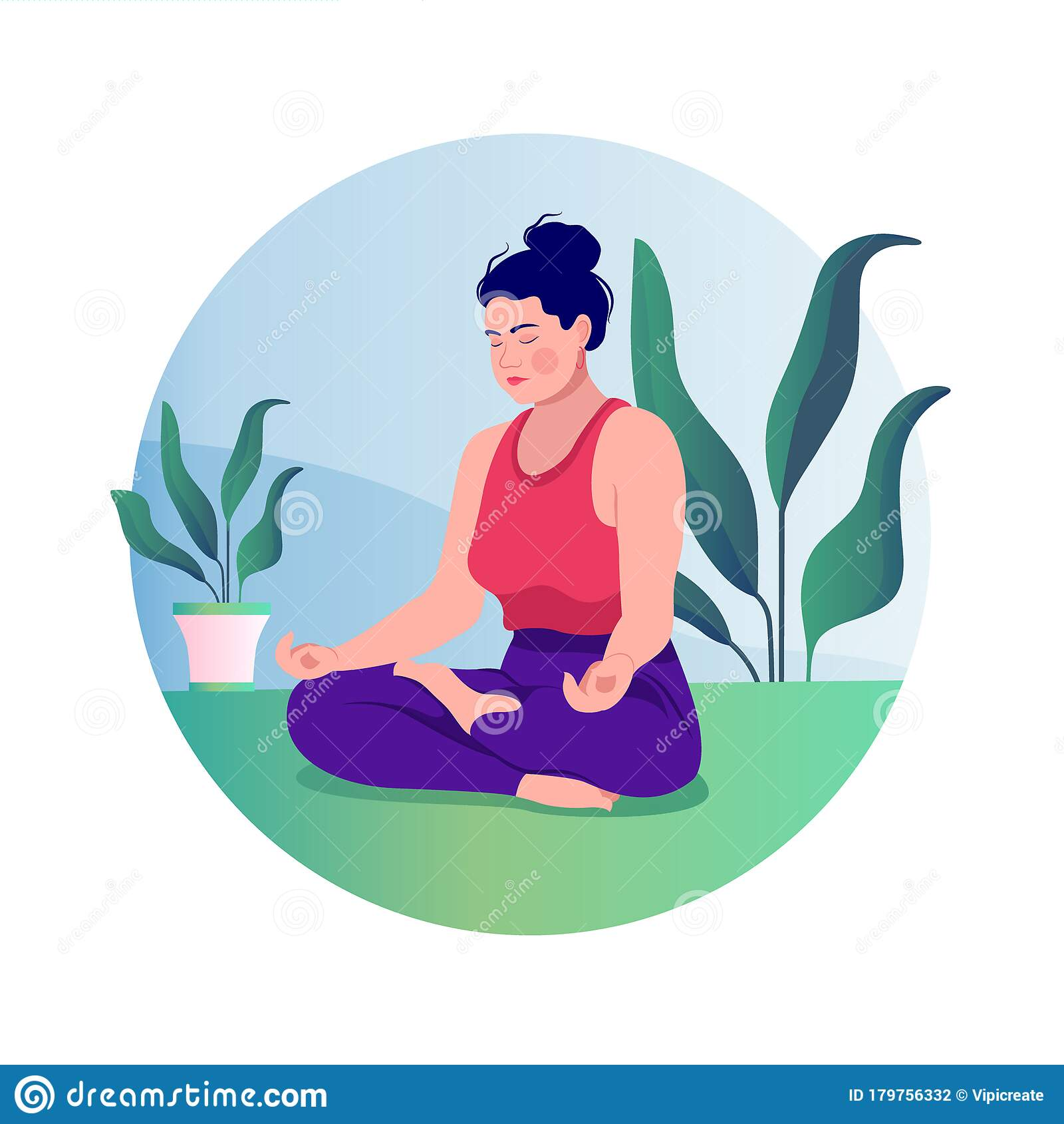 Creative Poster Or Banner Design With Illustration Of Woman Yoga Lotus Pose Practicing Yoga Vector Illustration Young And Happy Stock Illustration Illustration Of Meditating Modern 179756332