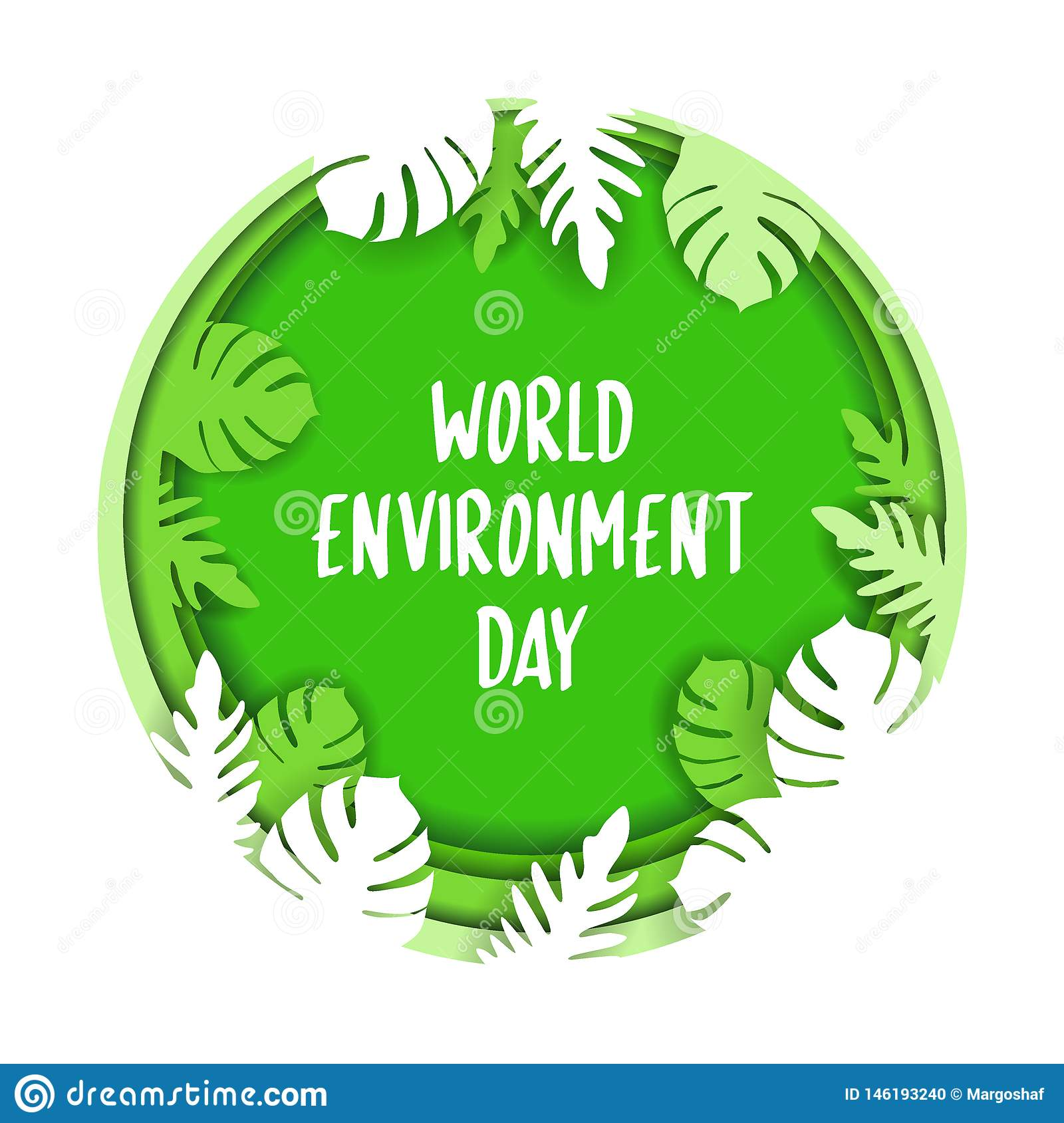 Creative Poster Or Banner Of World Environment Day. 3d paper cut eco friendly design. Vector illustration. Paper carving layer