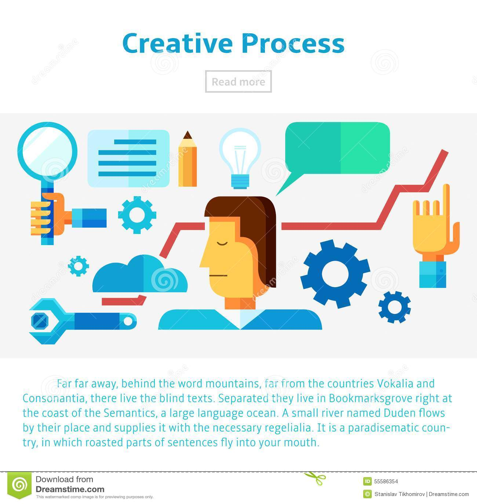 Character Illustration Design Process : Creative process vector illustration stock image