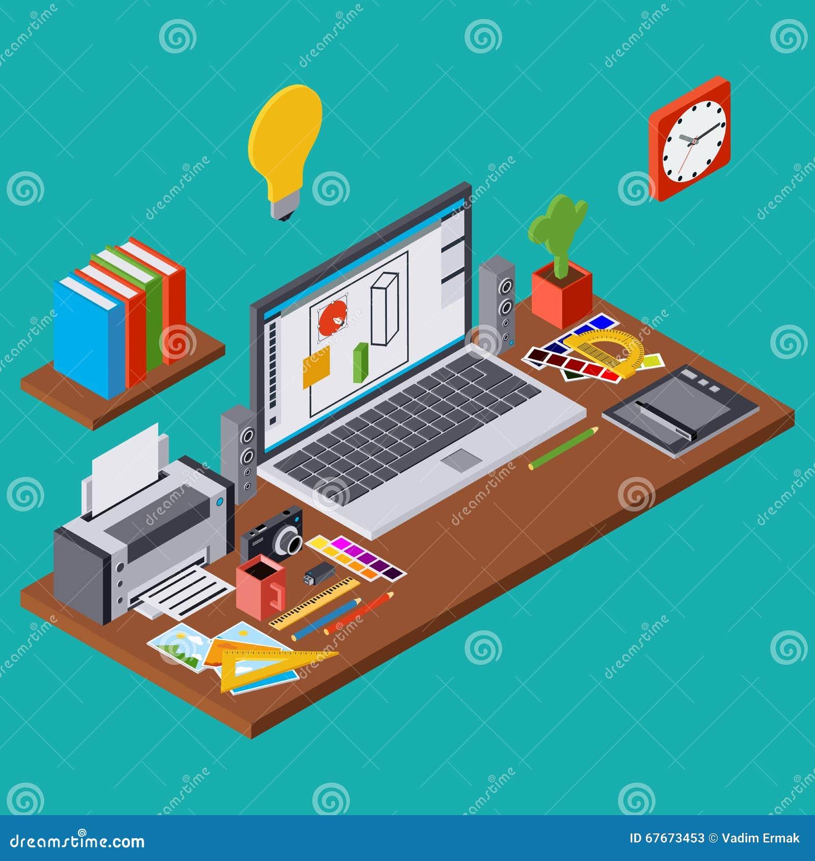 Creative Process Web Design Graphic Designer Workplace Vector Concept Stock Vector Illustration Of Digital Isometric 67673453
