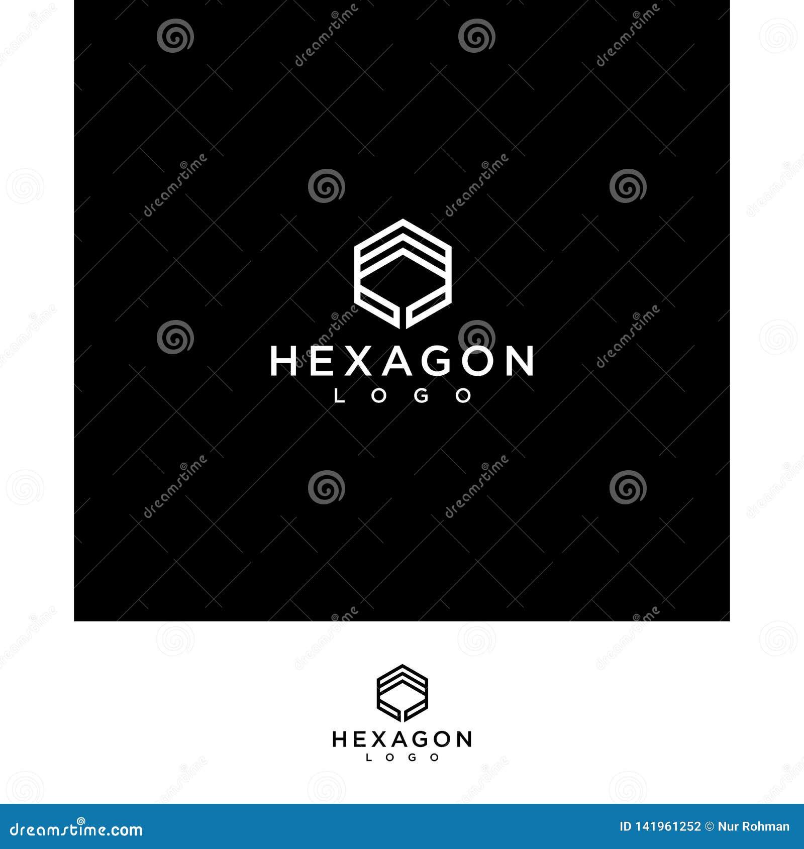 Creative and professional logo black hexagon line