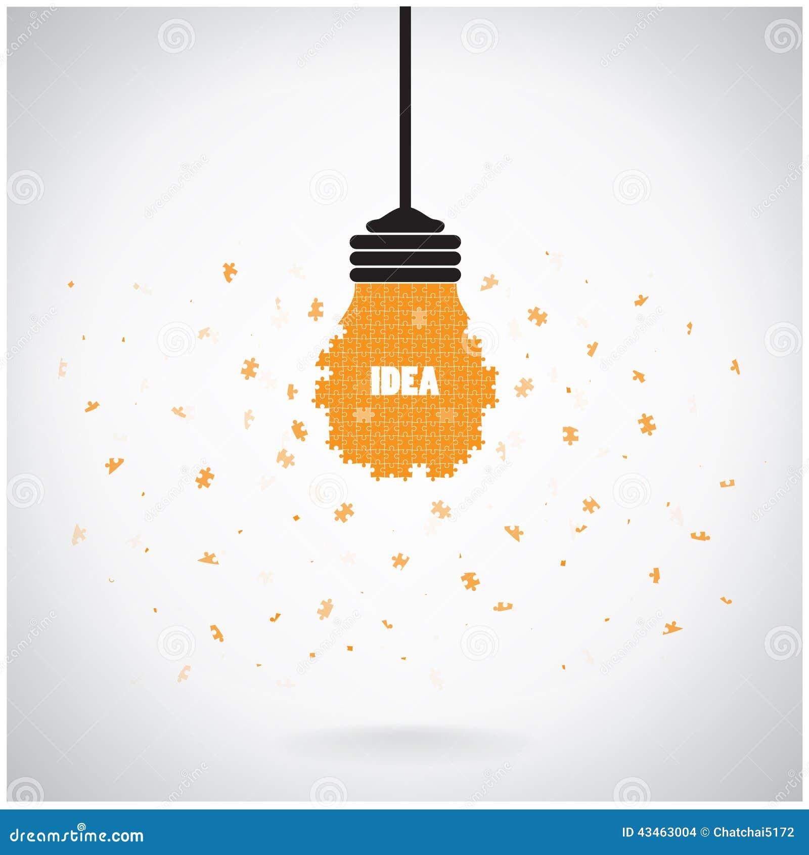 creative puzzle light bulb idea concept background design for poster
