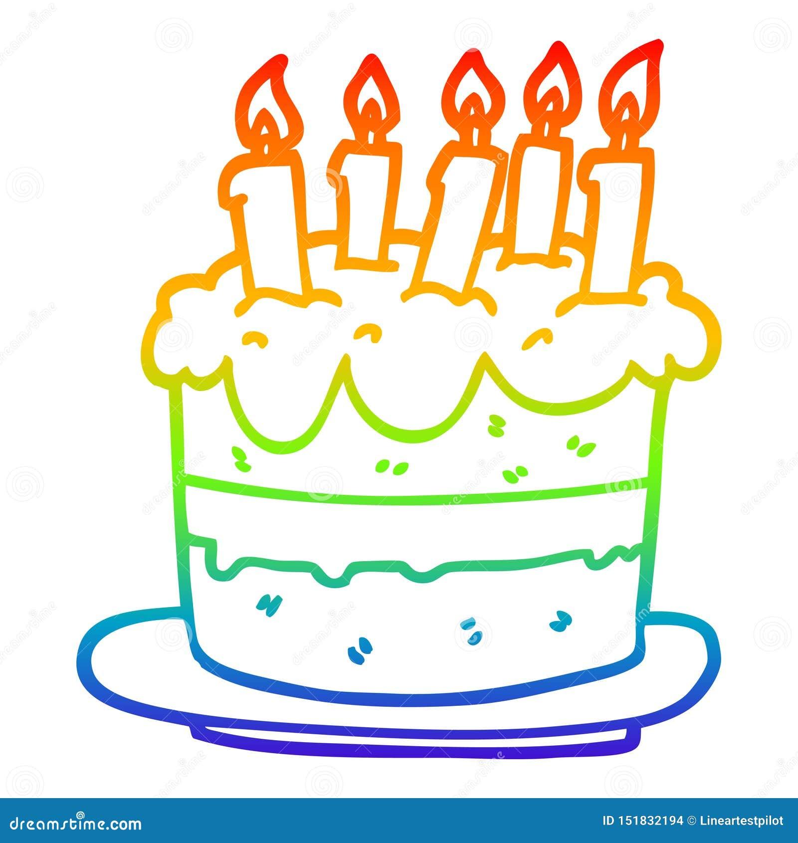 Marvelous A Creative Rainbow Gradient Line Drawing Cartoon Birthday Cake Funny Birthday Cards Online Kookostrdamsfinfo